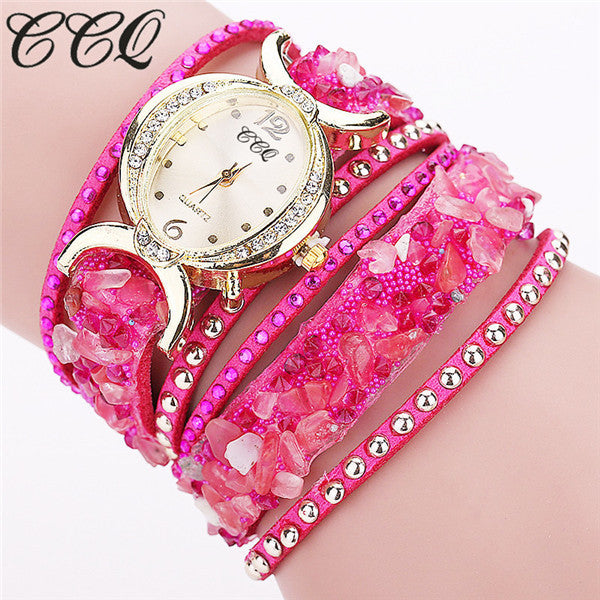 CCQ Leather Bracelet Women Rhinestone Quartz Watches Wrist Watch Gifts 1776