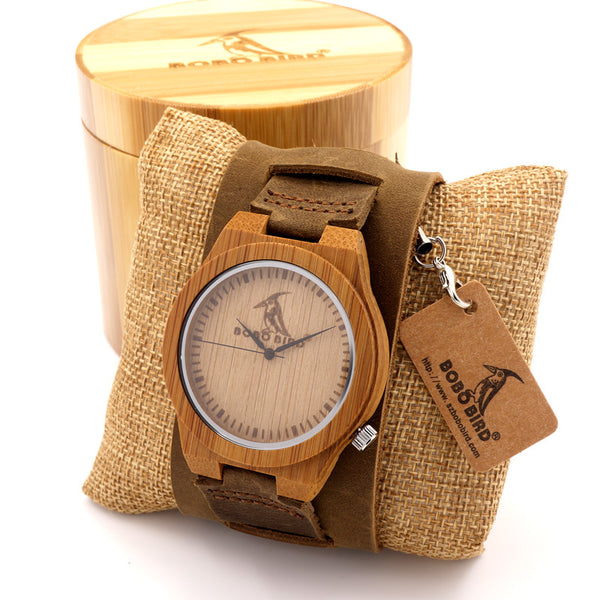 Bobobird Z010 Design Bamboo Wood Watches Chicago Genuine Leather Bracelets Bands Straps Mens Watches