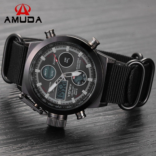 AMUDA Brand Dive LED Watches Men Sport Military Watch Genuine Leather Quartz Watch Men Wristwatches