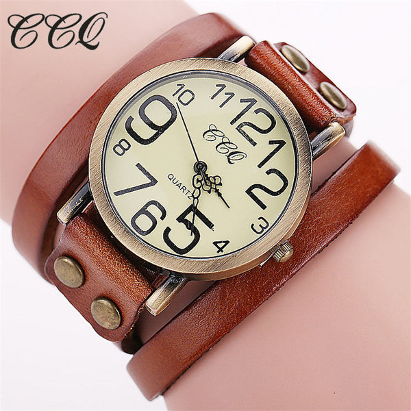 CCQ Brand Vintage Cow leather Bracelet Watches Women Wristwatch Quartz Watch 1373