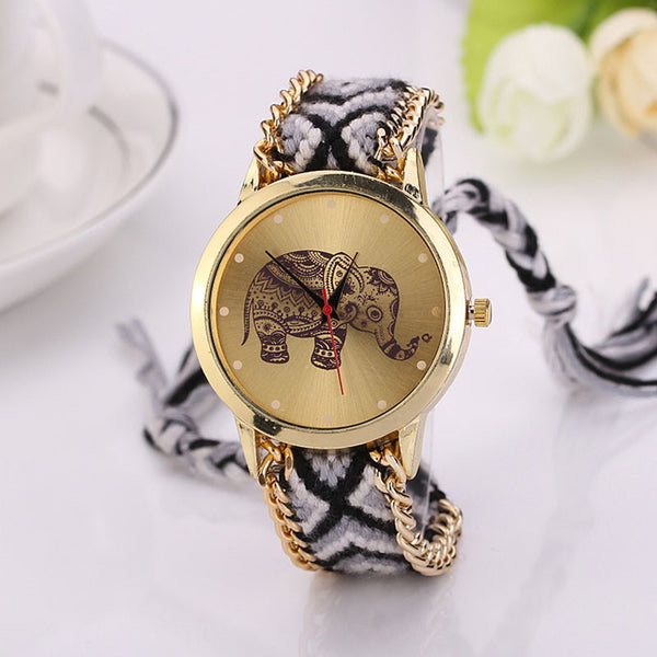 DIY Elephant Pattern Women Dress Watches National Weave Gold Bracelet Quartz Clock