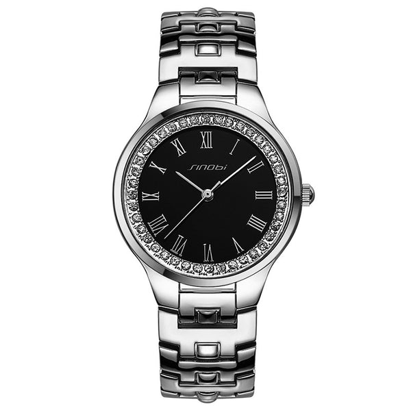 SINOBI Original Crystal Rhinestone Watches For Couples Leisure Vogue Silver Woman Wristwatch Horloges Mannen
