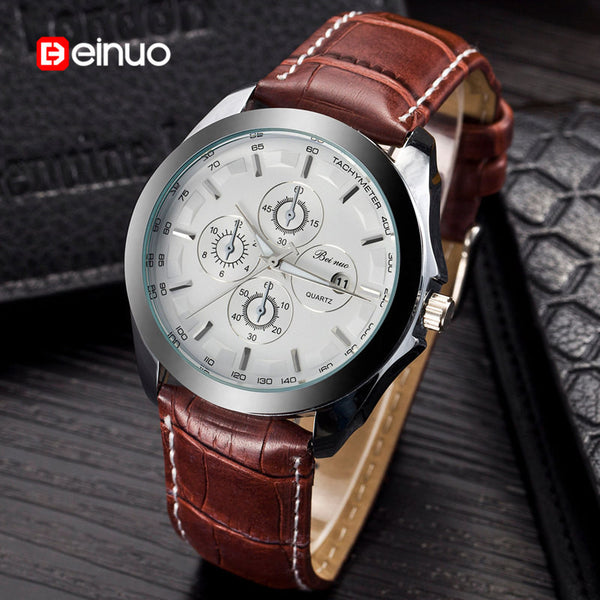 Beinuo Brand Men Leather Strap Watch Quartz Clock Business Wristwatch Military Watches