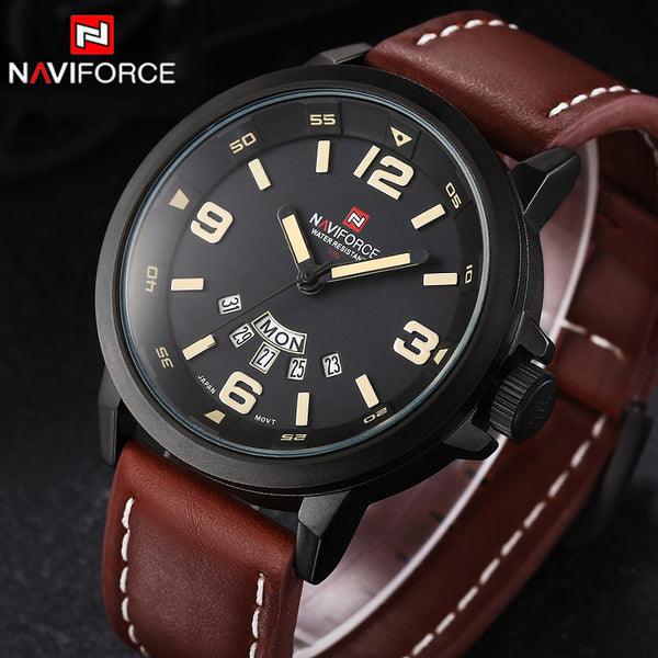 Brand NAVIFORCE Watches men Quartz Leather Sports wristwatch Army Military Dive Men's Watches