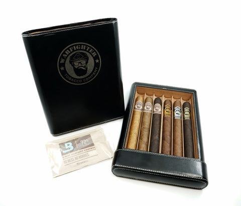 6 Cigar Sampler with Leather Wrapped Humidor