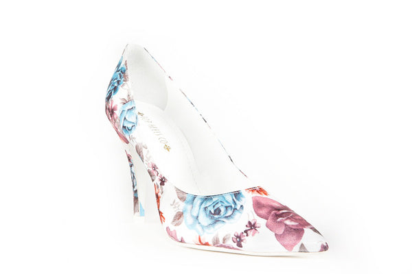 Kyra Floral White Pumps