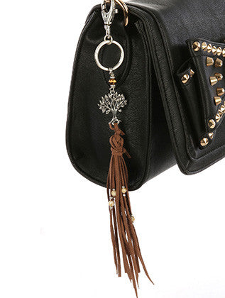 TREE OF LIFE CHARM FAUX SUEDE TASSEL KEY CHAIN - Sona Starz