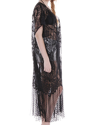 PAISLEY PATTERN LACE SHEER COVERUP PONCHO SCARF - Sona Starz