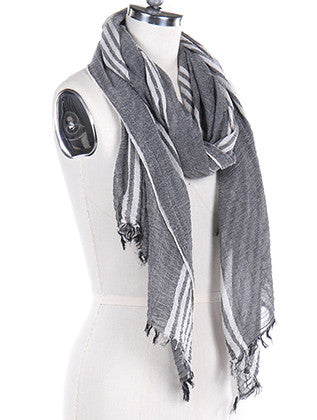 FRAYED EDGE STRIPE SCARF - Sona Starz