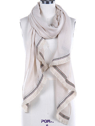 TRIBAL PATTERN RIBBON TRIM FRINGE SCARF - Sona Starz