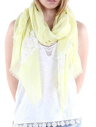LACE TRIM COLOR SHEER SCARF - Sona Starz