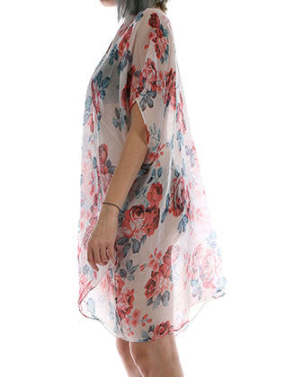 ROSE PRINT SHEER SLEEVED COVERUP SCARF - Sona Starz