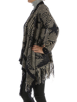 REVERSIBLE UNEVEN KNIT CARDIGAN SCARF - Sona Starz