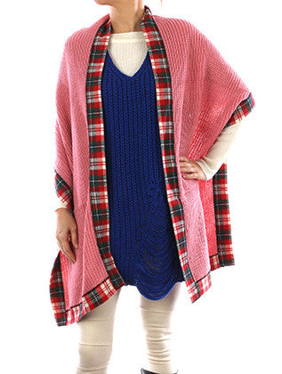 PLAID EDGE TRIM KNIT SCARF - Sona Starz