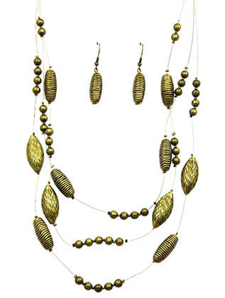 AGED FINISH METAL BEAD LAYERED WIRE NECKLACE SET - Sona Starz