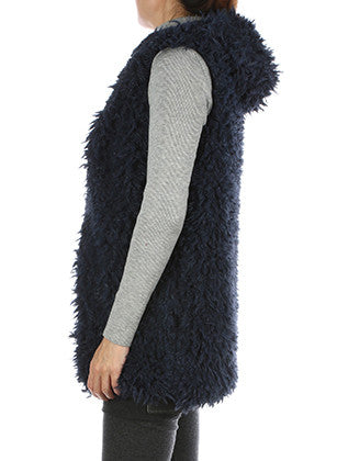 SOFT FUR HOODED VEST SCARF - Sona Starz