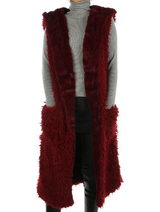 SOFT FUR LONG HOODED VEST SCARF - Sona Starz