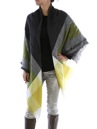 CHECKERED PLAID SOFT YARN BLANKET SCARF - Sona Starz