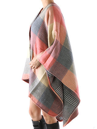 CHECKERED PATTERN RUANA PONCHO SCARF - Sona Starz