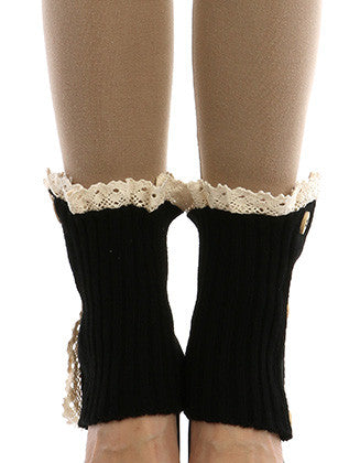 LACE TOP BUTTON EMBELLISHED LEG WARMER - Sona Starz