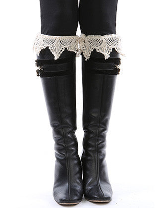 LACE TOP BUTTON EMBELLISHED KNIT LEG WARMER - Sona Starz