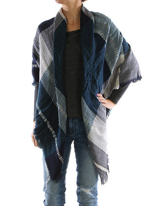 CHECKERED PLAID SOFT KNIT SHAWL SCARF - Sona Starz
