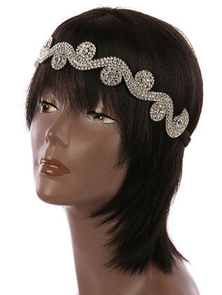WAVY LAYERED RHINESTONE STRETCH HEADBAND HAIR ACCESSORY - Sona Starz