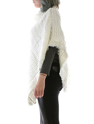 METALLIC THREAD ACCENT PONCHO SCARF - Sona Starz