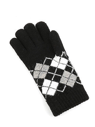 FLEECE LAYERED KNITTED ARGYLE GLOVES GENERAL MERCHANDISE - Sona Starz