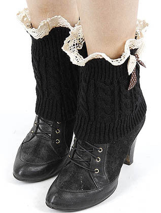 LACED TOP KNITTED LEG WARMER - Sona Starz