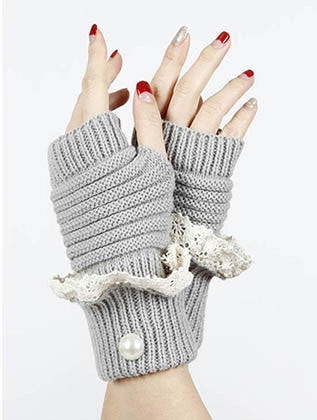 LACED FOLD OVER HAND WRIST WARMER GENERAL MERCHANDISE - Sona Starz