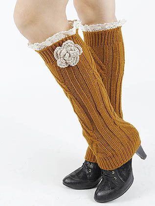 LACE TOP KNITTED FLOWER ACCENT LEG WARMER - Sona Starz