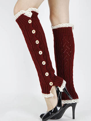 LACE TOP AND BOTTOM KNEE HIGH LEG WARMER - Sona Starz