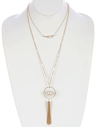 2 PC CHUNKY PEARL CHAIN TASSEL PENDANT NECKLACE - Sona Starz