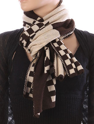 CHECKERED PATTERN WOVEN SCARF - Sona Starz