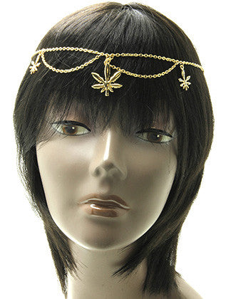 METAL LEAF CHARM LAYERED HEAD CHAIN HAIR ACCESSORY - Sona Starz