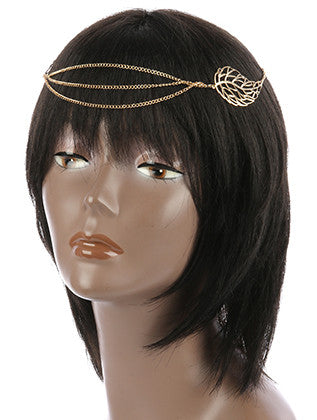 TEXTURED METAL LEAF LAYERED STRETCH HEAD CHAIN HAIR ACCESSORY - Sona Starz