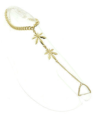 DOUBLE METAL LEAF TOE RING CONNECTED ANKLET - Sona Starz