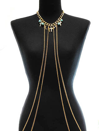 CROSS METAL CHAIN BODY CHAIN - Sona Starz
