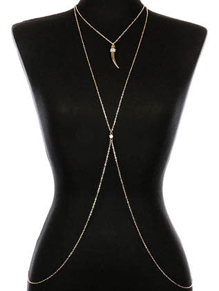 METAL ELEPHANT TOOTH CRYSTAL STONE BODY CHAIN - Sona Starz