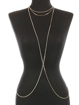 RHINESTONE LAYER NECKLACE AND BODY CHAIN - Sona Starz