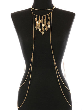 METAL LEAF FRINGE NECKLACE AND BODY CHAIN - Sona Starz