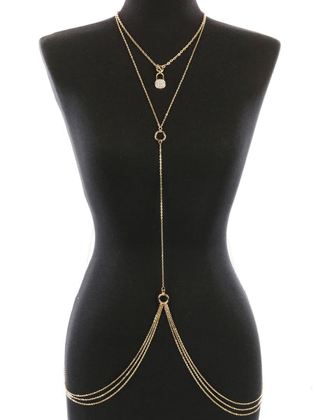 METAL LOCK CHARM NECKLACE AND BODY CHAIN - Sona Starz