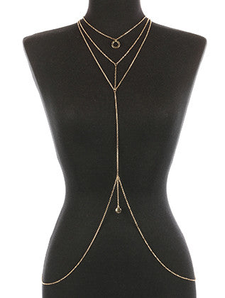 HAMMERED METAL RING NECKLACE AND BODY CHAIN - Sona Starz