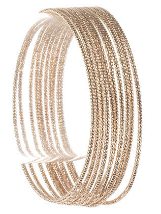 10 PC TEXTURED WIRE BANGLE BRACELET - Sona Starz