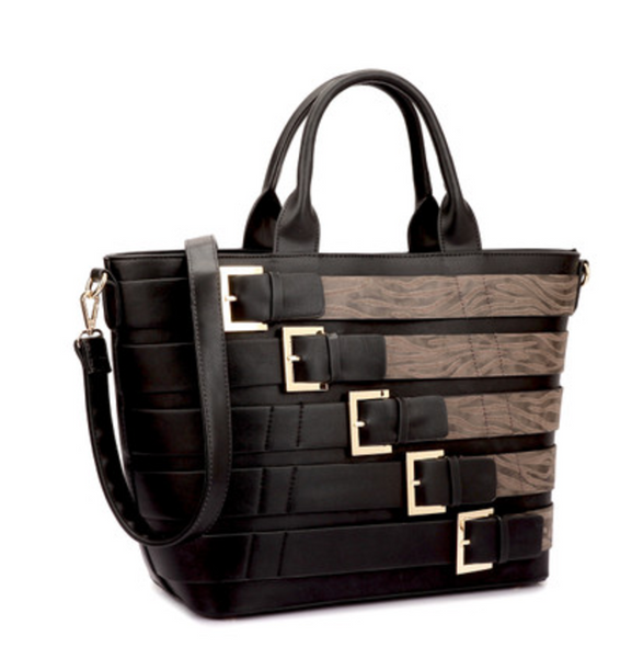 Trendy Handbag with Antique Metal Buckles - Sona Starz
