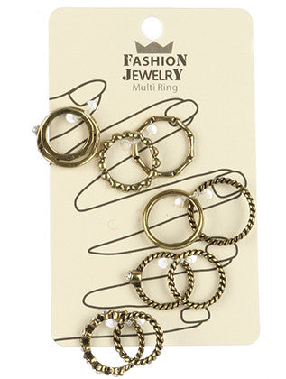 10 PC AGED FINISH METAL RING - Sona Starz