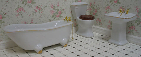 Bathroom Set White With Gold Trim