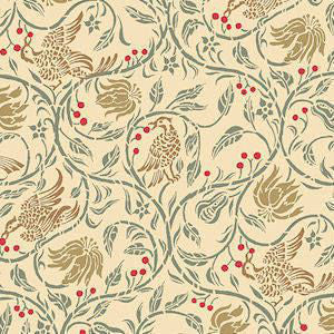 Birds And Berries Wallpaper In Cream