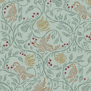 Birds And Berries Wallpaper In Green